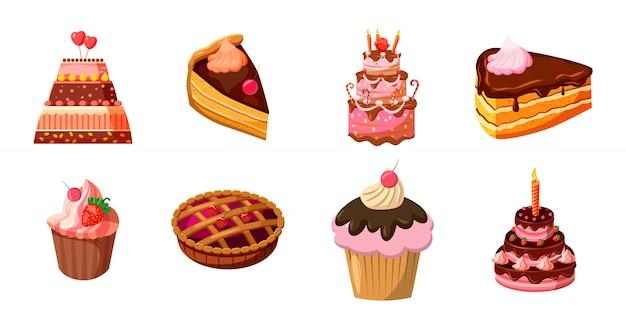 Ensemble de gâteaux. jeu de dessin animé de gâteau