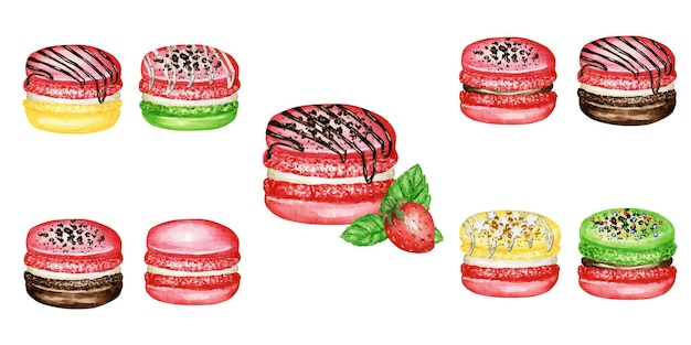 Ensemble de gâteaux macaron français aquarelle dessinés à la main. dessert pâtisserie fruits menthe fraise rose rouge isolé