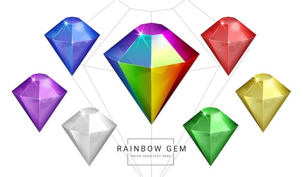 Ensemble de gemmes de bijoux fantaisie couleur arc-en-ciel, pierre pour jeu.