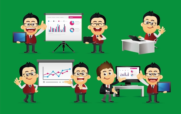 Ensemble de gens d'affaires accord de présentation travaillent à l'ordinateur