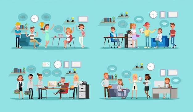 Ensemble de gens d'affaires au bureau