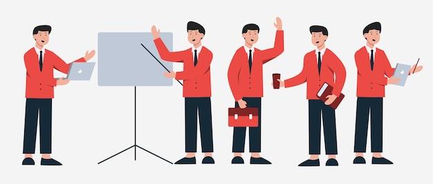 Ensemble de gens d'affaires dans différentes actions de personnages de dessins animés, illustration isolée