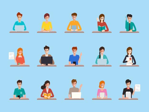 Ensemble de gens d'affaires icône en emploi de bureau.