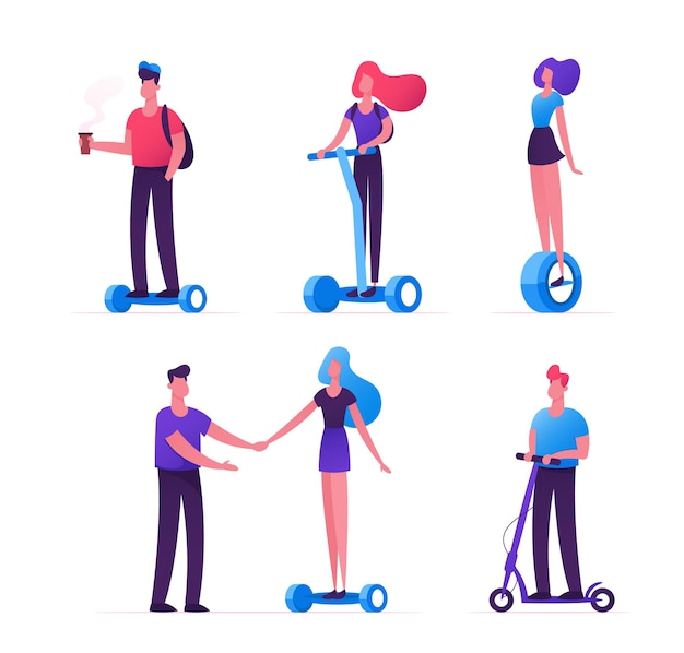 Ensemble, de, gens, équitation, écologie, transport