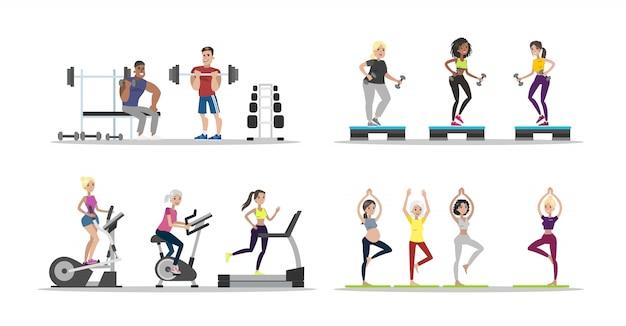 Ensemble de gens de gym. hommes et femmes faisant des exercices.