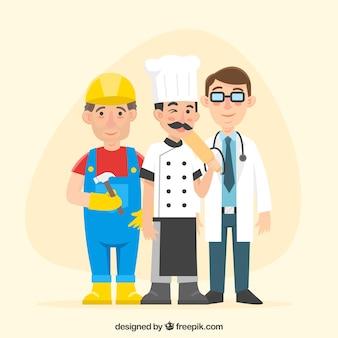 Ensemble de gens heureux avec différents emplois dans le style plat