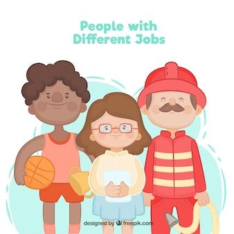 Ensemble de gens heureux avec différents emplois