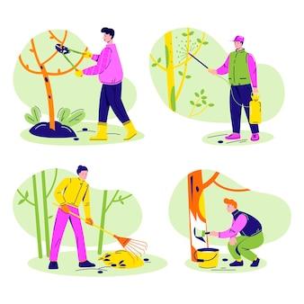 Ensemble de gens de jardinage. travaux du jardin, élagage, pulvérisation, badigeonnage, nettoyage.