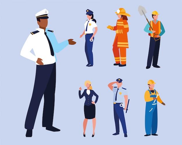 Ensemble de gens de professions avec uniforme de travail