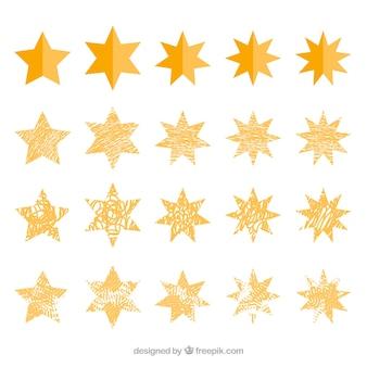 Ensemble géométrique des étoiles décoratives