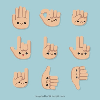 Ensemble de gestes avec de belles mains