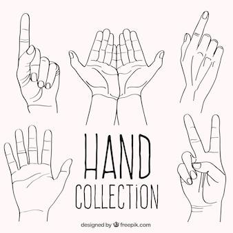 Ensemble de gestes dessinés à la main avec les mains
