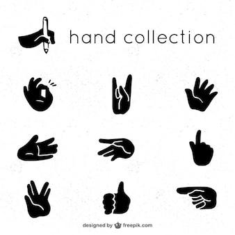 Ensemble de gestes avec les mains dans la couleur noire