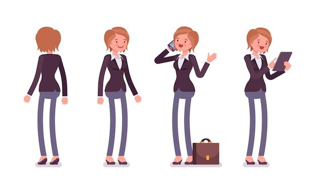 Ensemble de gestionnaire féminin en position debout, arrière, vue de face