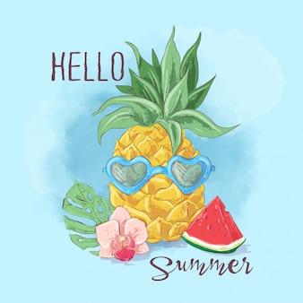 Ensemble de glace cocktail et fruits tropicaux. illustration vectorielle