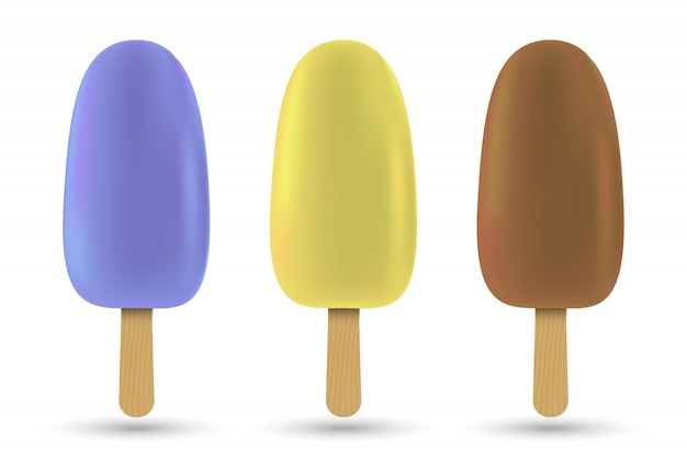 Ensemble de glace popsicle isolé