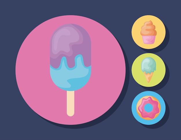 Ensemble de glaces avec cupcake et beignet