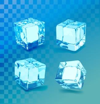 Ensemble de glaçons réalistes. collection de glace bleue, isolée, rafraîchie, fond transparent.