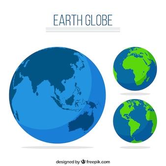 Ensemble globe de la terre