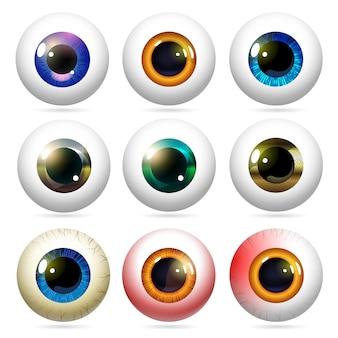 Ensemble de globes oculaires dans un style réaliste.