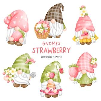 Ensemble de gnome aux fraises aquarelle