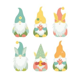 Ensemble de gnome de printemps