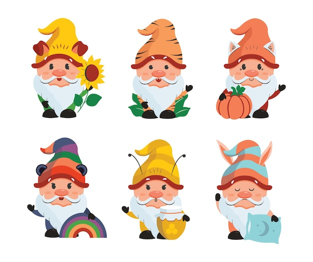 L'ensemble de gnomes caricaturaux est bon pour les vacances conçoit la collection d'autocollants drôles