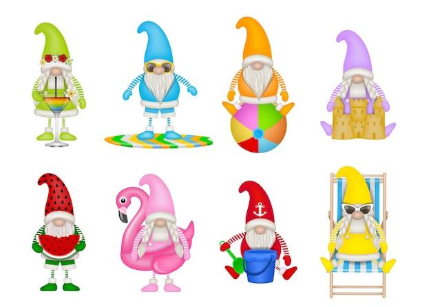 Ensemble de gnomes d'été drôles