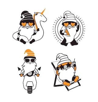 L'ensemble des gnomes d'été les personnages de dessins animés