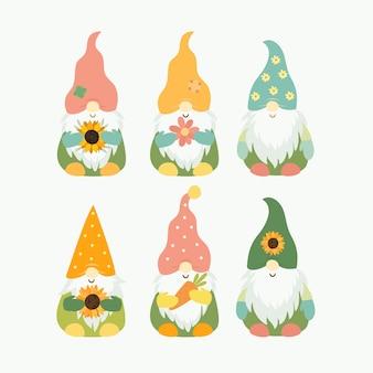 Ensemble de gnomes d'été