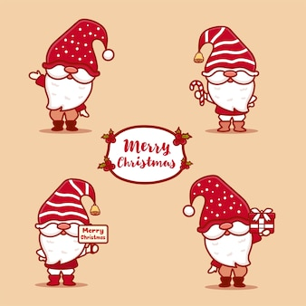 Ensemble de gnomes mignons célébrant noël. tenant du texte joyeux noël, des bonbons et des cadeaux. style kawaii