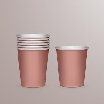 Ensemble de gobelets en papier pour le recyclage. illustration