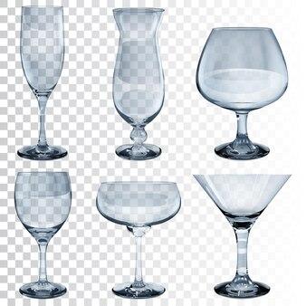 Ensemble de gobelets en verre transparent vide pour vin, cocktail, champagne et cognac. de couleur bleu clair