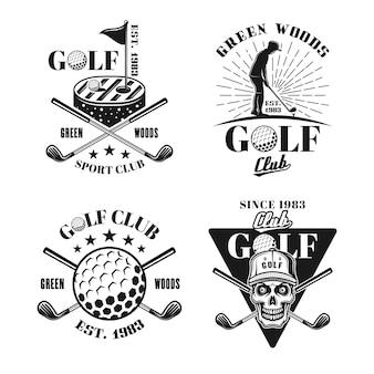 Ensemble de golf de quatre emblèmes, badges, étiquettes ou logos isolés vectoriels en noir et blanc dans un style vintage