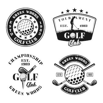 Ensemble de golf de quatre emblèmes, badges, étiquettes ou logos vectoriels dans un style monochrome vintage isolé sur fond blanc