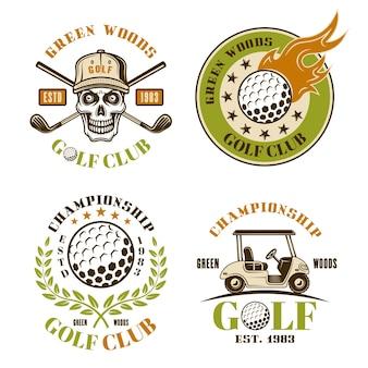 Ensemble de golf de quatre emblèmes vectoriels colorés, badges, étiquettes ou logos dans un style vintage isolé sur fond blanc