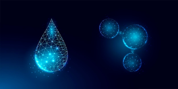 Ensemble de goutte d'eau et de molécule d'eau. structure de connexion légère filaire, concept graphique 3d.