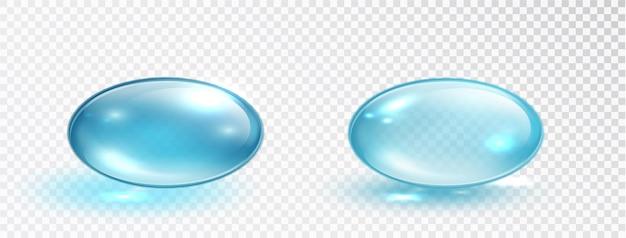 Ensemble de gouttelettes de collagène bleu isolé sur fond blanc. bulle d'huile ronde bleue en gel liquide. capsule cosmétique de vitamine.