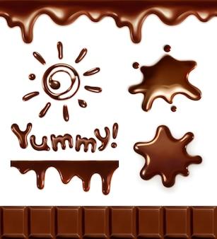 Ensemble de gouttes de chocolat, illustration vectorielle