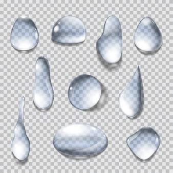 Ensemble de gouttes d'eau isolées sur fond transparent