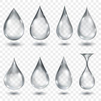 Ensemble de gouttes d'eau translucides de couleurs grises de différentes formes