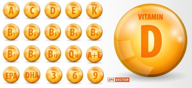 Ensemble de gouttes d'huile d'or de vitamines réalistes isolées ou de vitamines de gouttelettes liquides dorées ou de graisses oméga