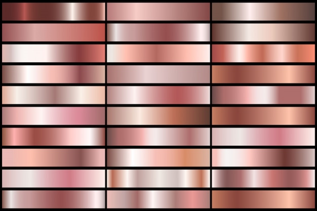 Ensemble de gradients d'or rose réalistes. collection de métal de vecteur pour frontière, cadre, conception de ruban.