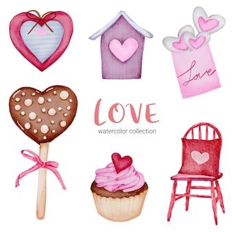 Ensemble de grand élément de concept aquarelle saint-valentin isolé beaux coeurs rouge-rose romantique pour la décoration, illustration.