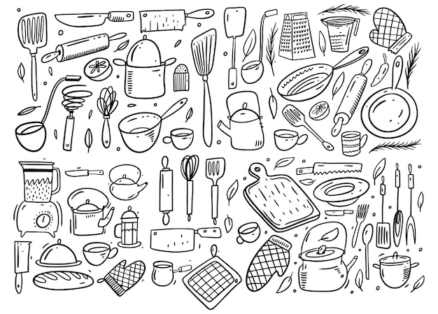 Ensemble de grande collection d'outils de cuisine. style de griffonnage. isolé.