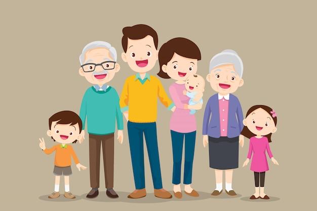 Ensemble de grande famille heureuse