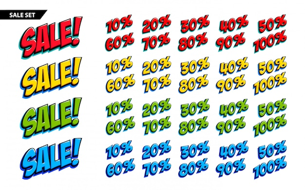 Ensemble de grande vente inscription de vente en quatre couleurs et signes 10, 20, 30, 40, 50, 60, 70, 80, 90,100 pour cent