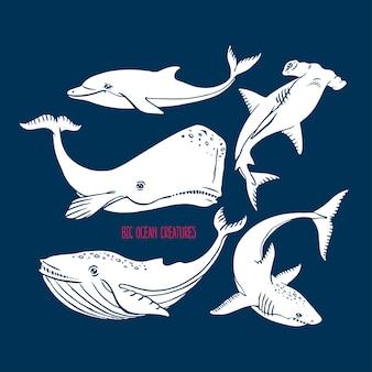 Ensemble de grandes créatures océaniques. illustration dessinée à la main