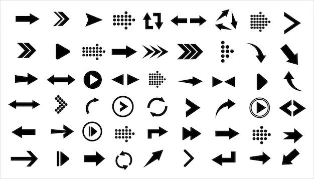 Ensemble de grandes icônes noires de flèches