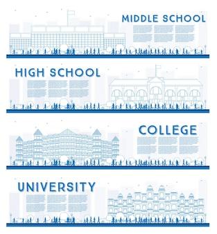 Ensemble de grandes lignes de bannières d'études universitaires, secondaires et collégiales. illustration vectorielle. les étudiants vont au bâtiment principal de l'université. bannière avec espace de copie.